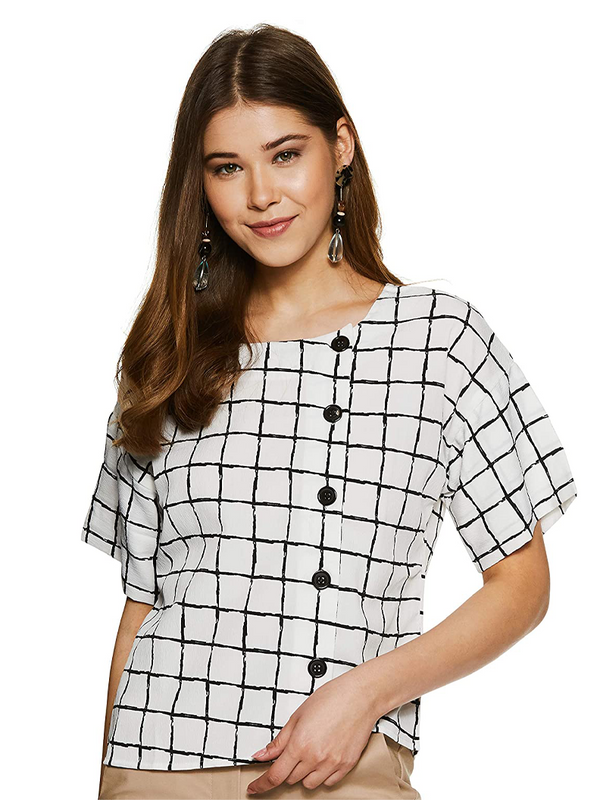 Sparta Women White Checked Top