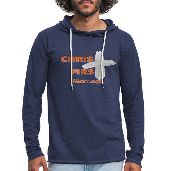 Christ First Terry Hoodie - heather navy