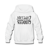 Nice Until Proven Naughty Kids' Hoodie - white