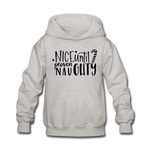 Nice Until Proven Naughty Kids' Hoodie - heather gray