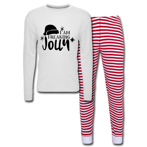 I Am Freaking Jolly PJ's - white/red stripe
