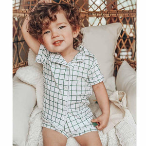 Green Check Button Down Short Pajamas
