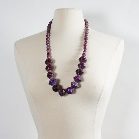 Anastasia Large Paper Bead Necklace Grape