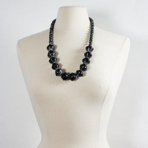 Anastasia Large Paper Bead Necklace Charcoal