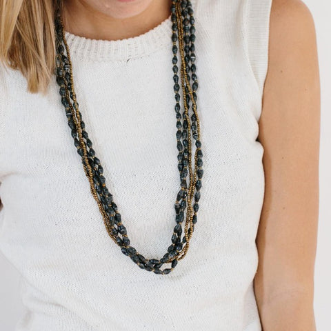 5 Strand Paper Necklace - Charcoal