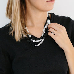 Beaded Color Block Necklace - Black + White