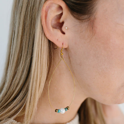 Gold Teardrop with Pearl + Turquoise