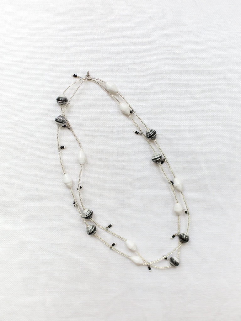 White/Black Paper Bead and Seeds Necklace