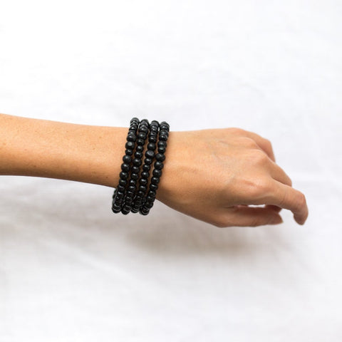 Wood Bead Wrap Bracelet Black