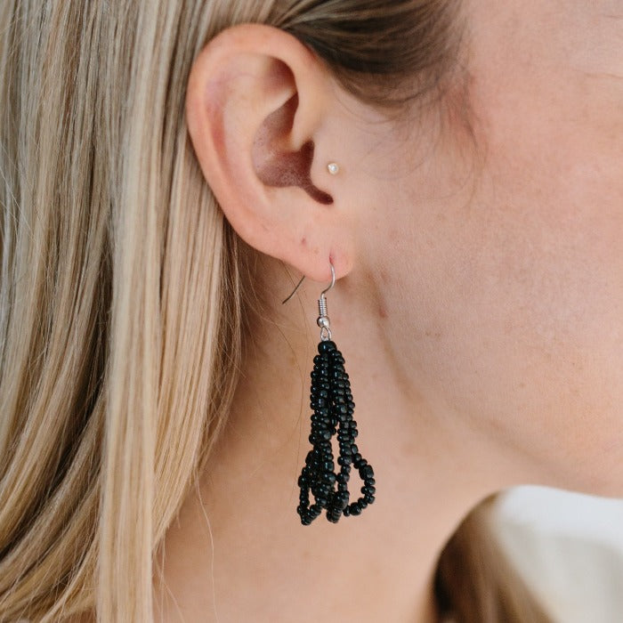 Ethnic Strands  Beaded Earrings - Black