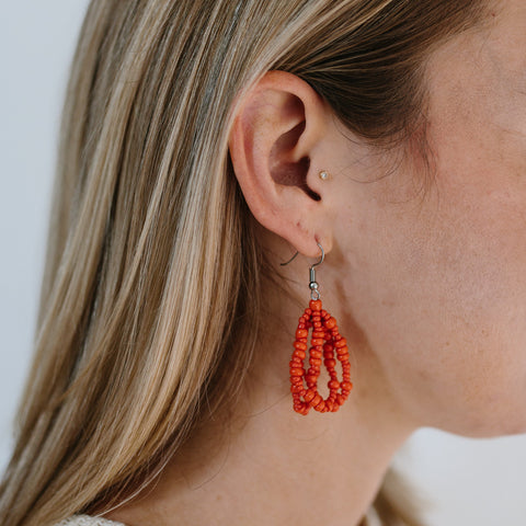 Cascade Beaded Earrings - Coral