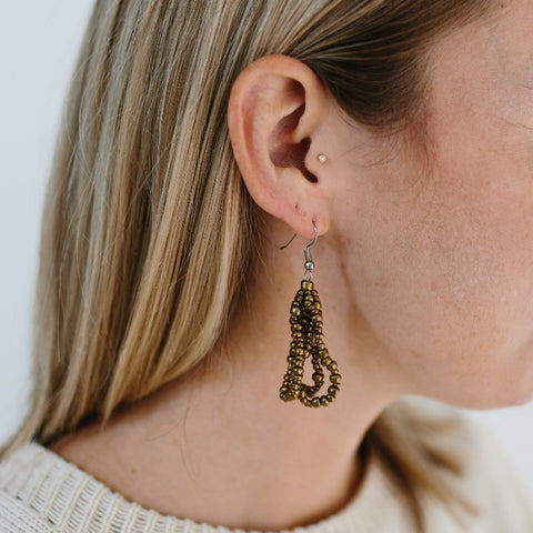 Cascade Beaded Earrings - Gold