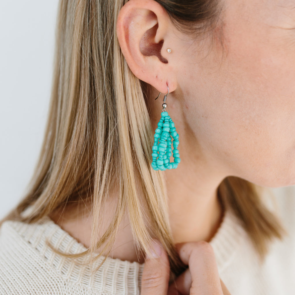 Cascade Beaded Earrings - Dark Turquoise