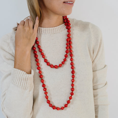 Extra Long Paper Bead Necklace - Hot Red