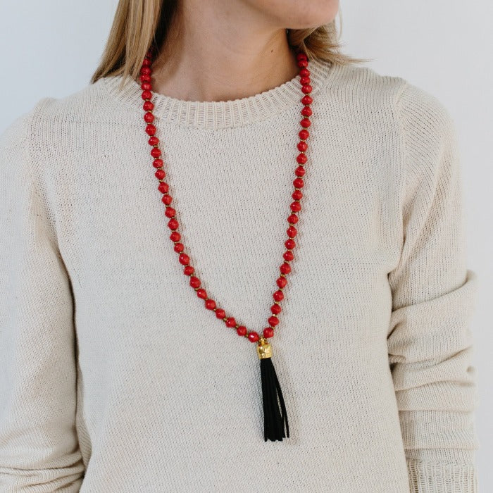 Paper Bead Tassel Necklace - Hot Red + Black