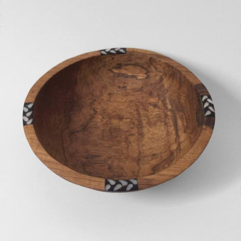 Hand-carved Acacia Wood Bowl with Bone Inlay