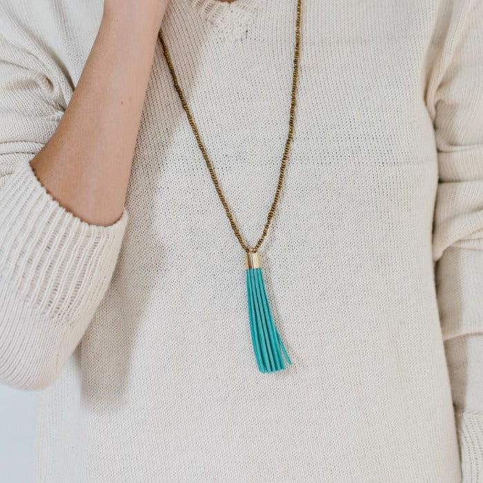 Beaded Tassel Necklace - Turquoise