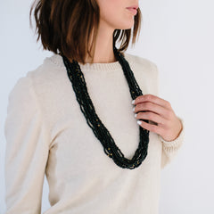 Black Vintage Cascade Necklace