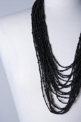 Cascade Necklace - Black Seed Beads