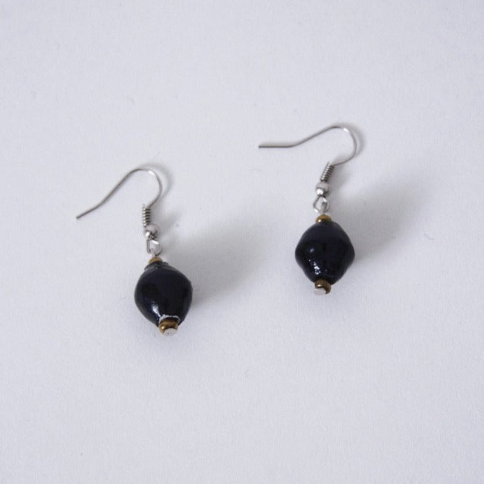 Paper Bead Single Drop Earrings Black with Gold Bead