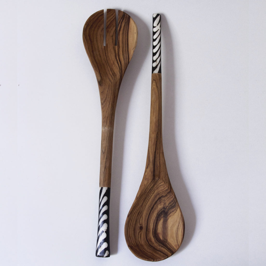 Hand-carved Acacia Wood Spoons with Bone Inlay