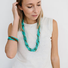 Braided Bead Necklace - Turquoise