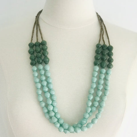 Sea Foam and Emerald Green Paper Bead Tribal Necklace