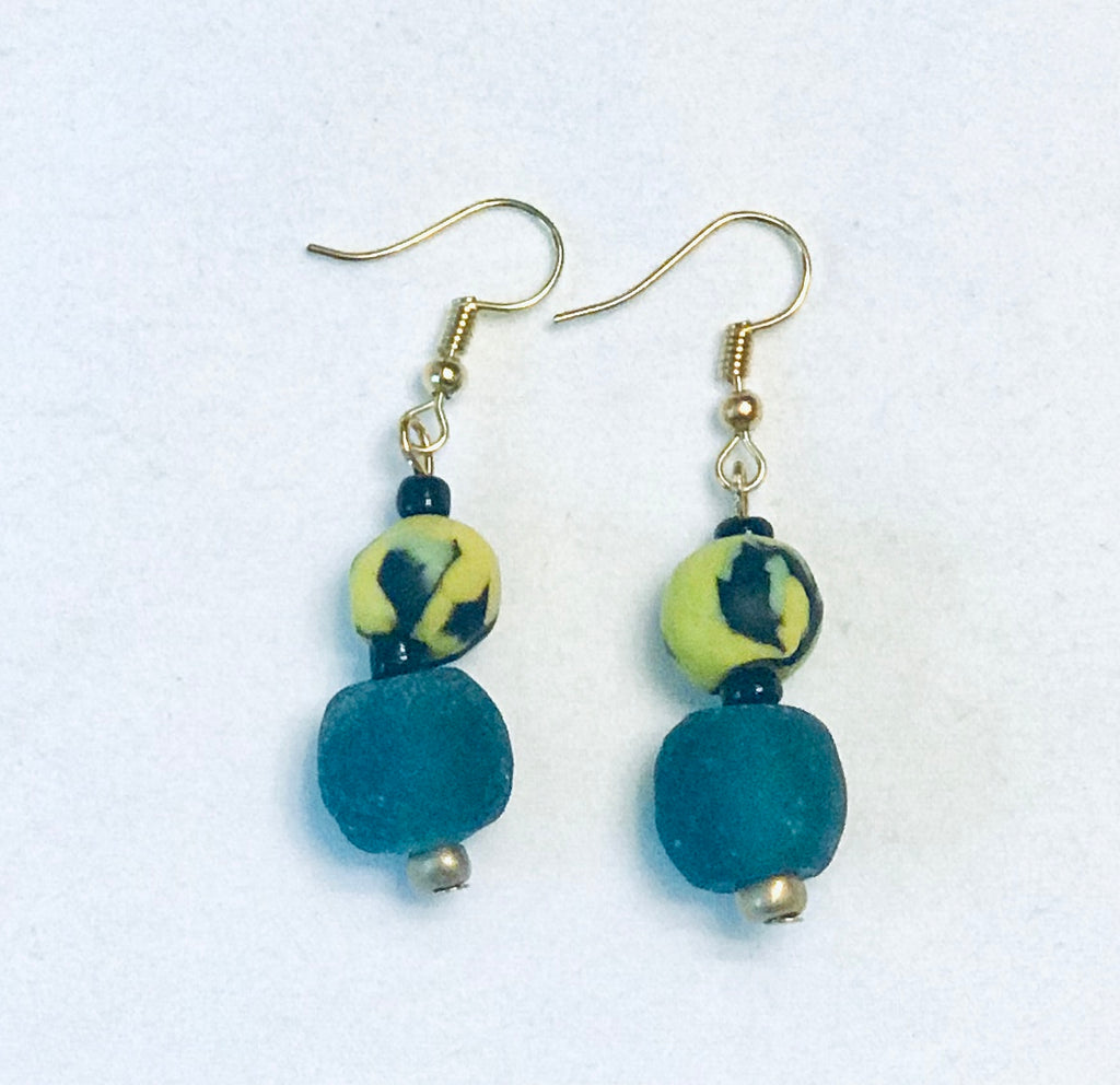 Hand-painted Yellow and Blue Ghana Glass Earrings