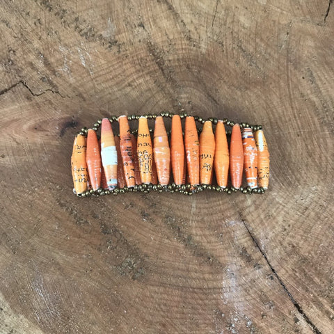 Stretchy Paper Bead Cuff Orange
