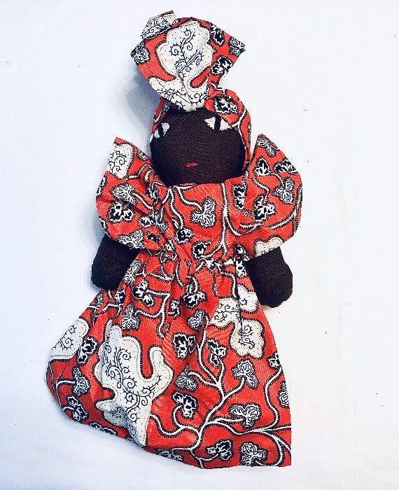 Kenyan Baby Doll - Orange Kanga Fabric