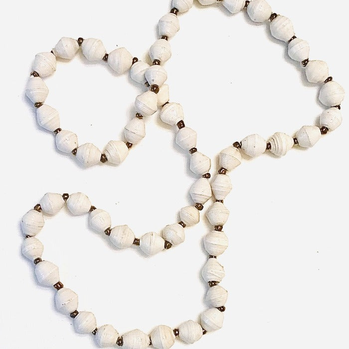 White Paper Bead Short Necklace