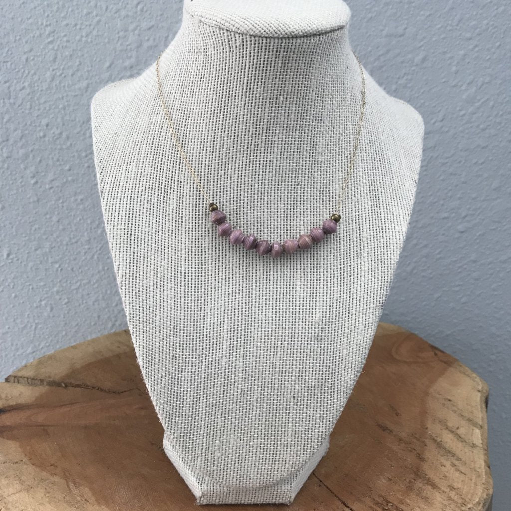Lavender Tiny Paper Beads Necklace