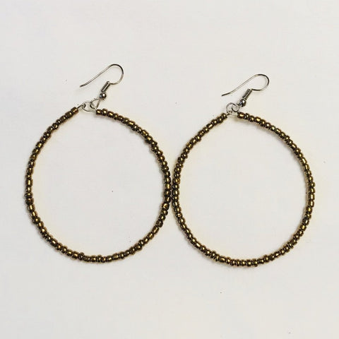 Gold Seed Beaded Hoops