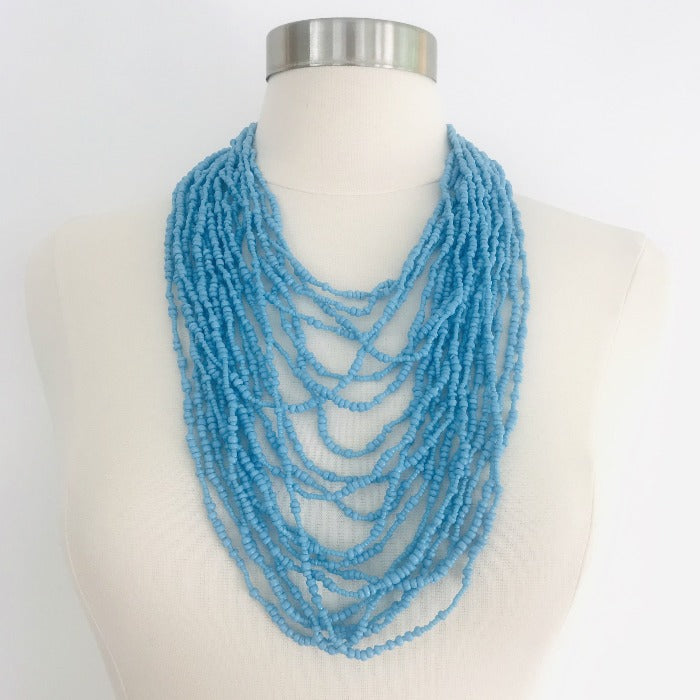 Ethnic Strands Maasai Necklace-Sky Blue
