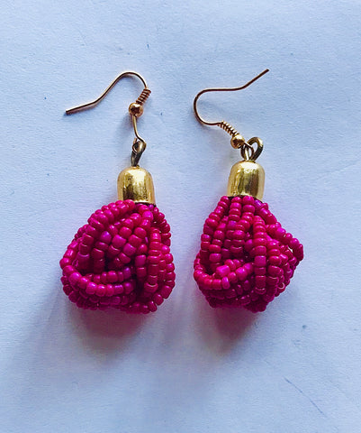 Fuschia Seed Bead Knotted Earrings