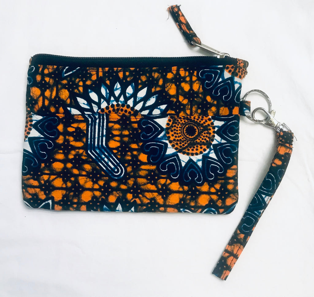 Kanga Fabric Clutch - Orange/ Navy