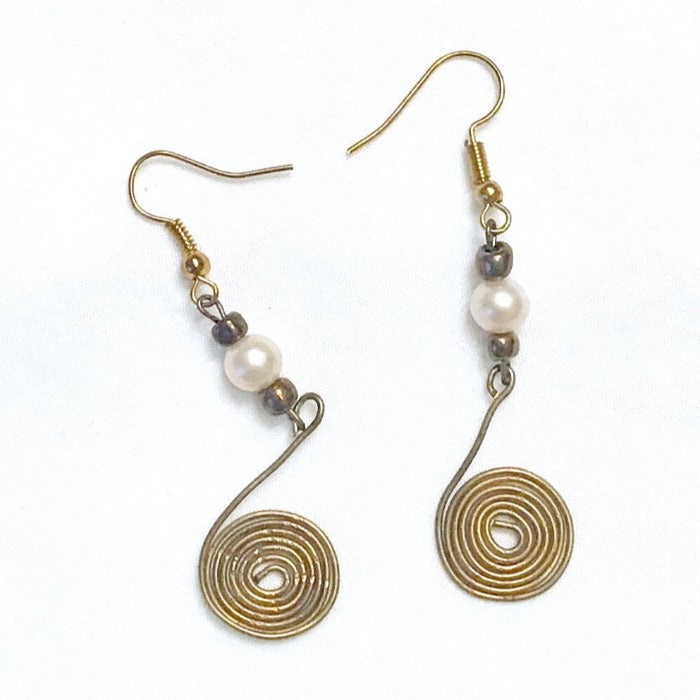 Egyptian Wire and Pearl Earrings