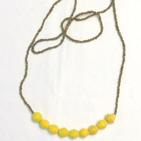 Paper Bead 9-Drop Necklace - Yellow