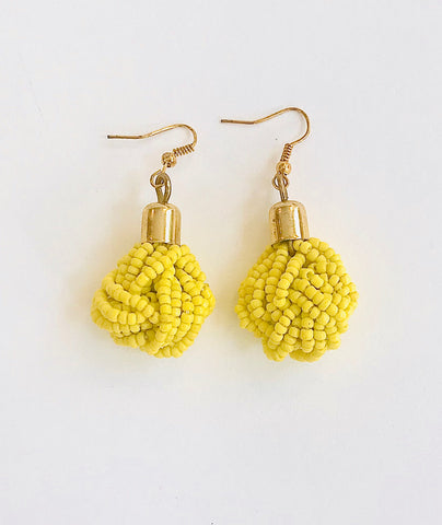 Yellow Seed Bead Knotted Earrings