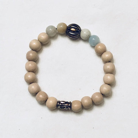 Chalcedony Stones and Wood Stretchy Bracelet