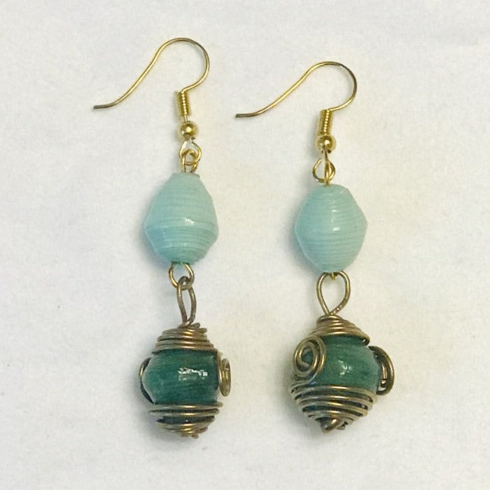 Paper Bead Sea Foam and Emerald Green Tribal Earrings