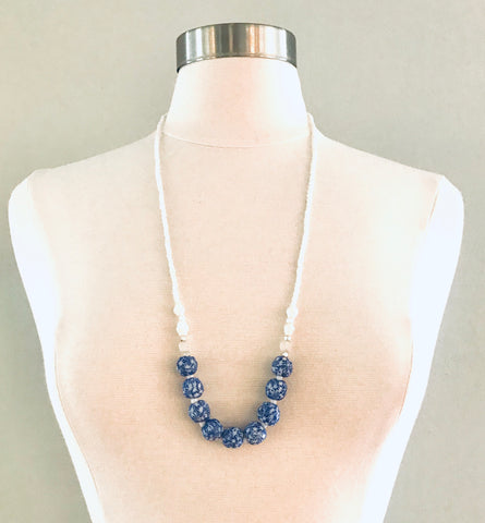 Blue Floral Glass and White Paper Beads Necklace