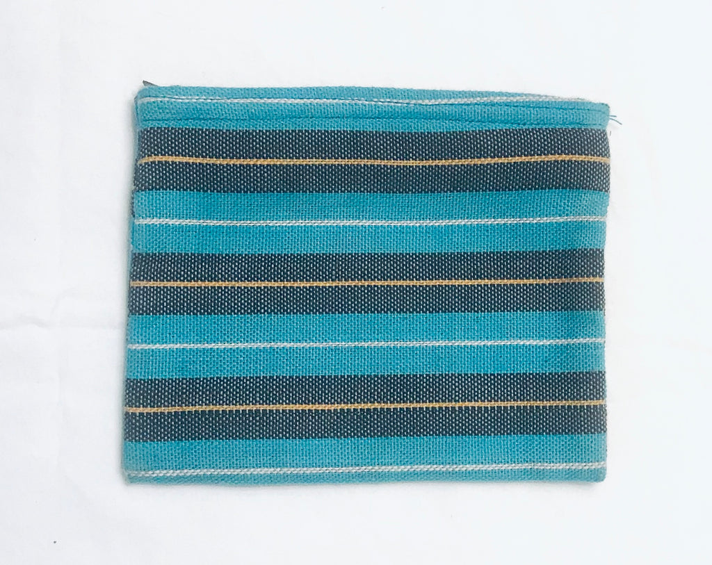 Kikoy Fabric Blue-stripe Unisex Wallet