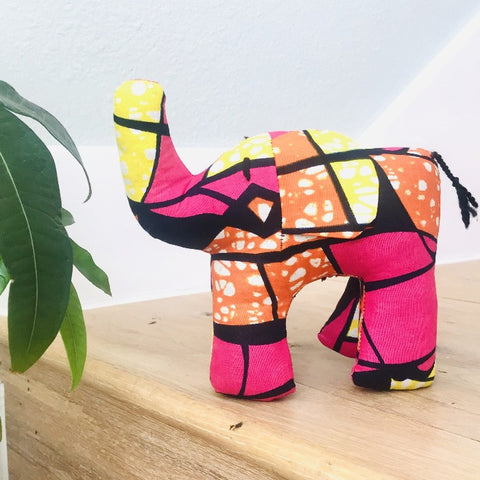 Stuffed Elephant - Pink Kanga