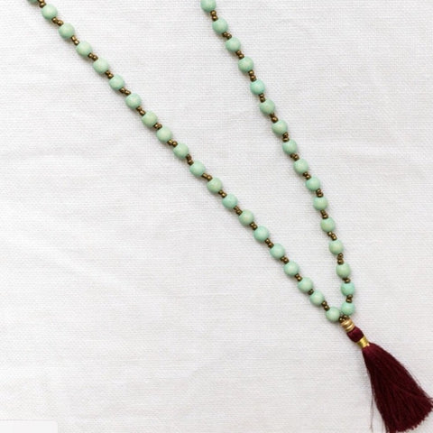 Paper Bead Necklace Sea Foam with Wine Tassel