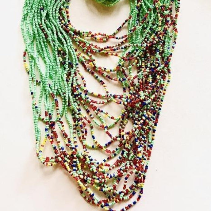 Sea Foam Seed Beads Ceremonial Necklace