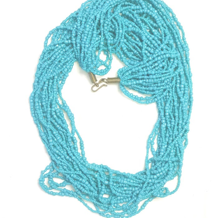 Ethnic Maasai 20-Strands Necklace - Dark Turquoise