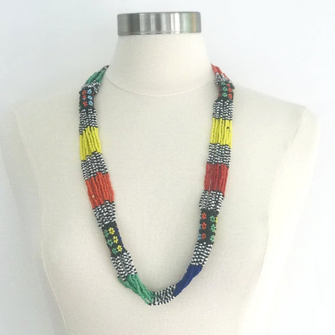 Maasai Tribal Beaded Necklace - Bright Tones