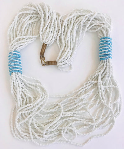 White/Sky Blue Seed Bead Ceremonial Necklace