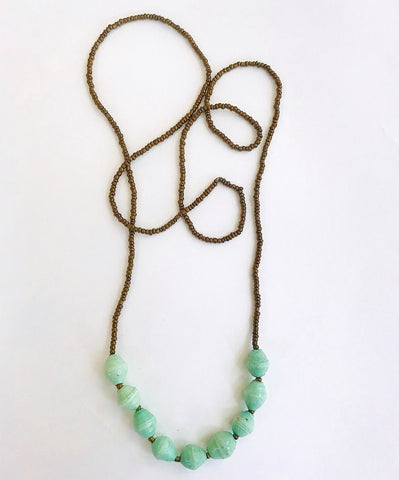 Sea Foam Paper Bead 9-Drop Necklace